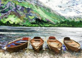 Lakeland Boats (canvas) a limited edition print by Timmy Mallett
