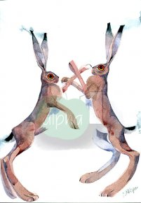Boxing Hares a limited edition print by Mary Ann Rogers