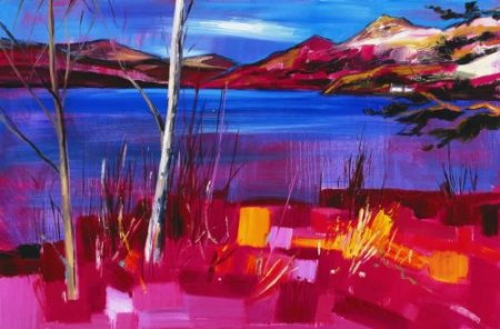 Buy Birch Trees by Loch Lomond - art print by artist Judith Bridgland