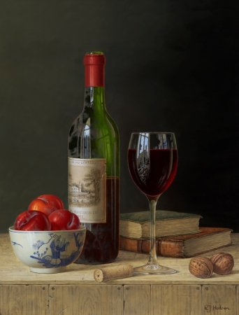Buy Chateau Lafite with Plums and Books - art print by artist Roy Hodrien