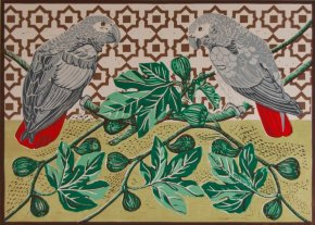 African Grey Parrots and Figs a limited edition print by Linda Richardson