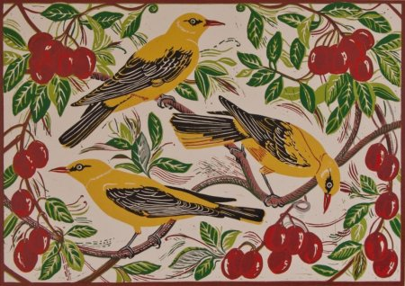 Buy Golden Orioles and Plums - art print by artist Linda Richardson