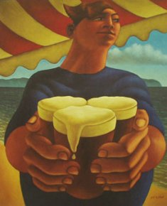 Boy with Beers a limited edition print by Graham McKean