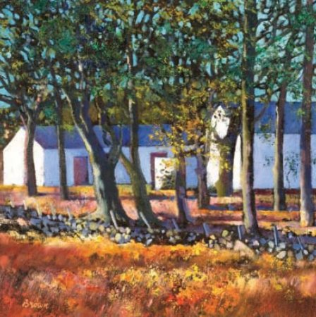 Buy Farm Buildings through Trees - art print by artist Davy Brown