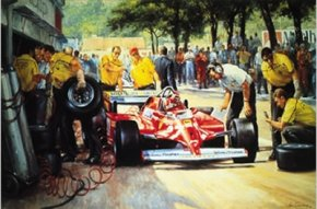 Villenuve Pit Stop a limited edition print by Alan Fearnley