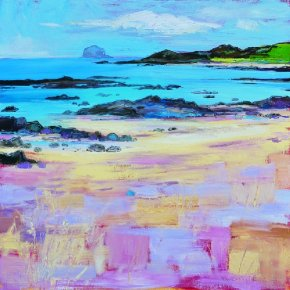 Blue Sea with Bass Rock a limited edition print by Judith Bridgland