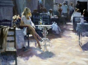 Girl At Table a limited edition print by David Farrant