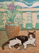 Limited edition prints and art prints by Linda Richardson - Arnold and the Urn Plant
