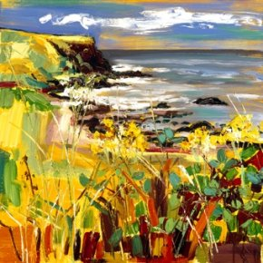 Yellow Flowers & Brambles, Giant's Causeway a limited edition print by Judith Bridgland