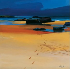 Footsteps and Orange Sands, Montrose Bay a limited edition print by Pam Carter