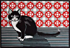 Cat and Screen - Red a limited edition print by Linda Richardson