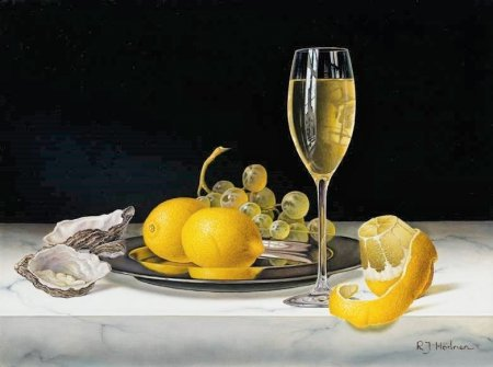 Buy White Wine with Lemons and Oysters - art print by artist Roy Hodrien
