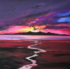 Sunset over Arran a limited edition print by Davy Brown