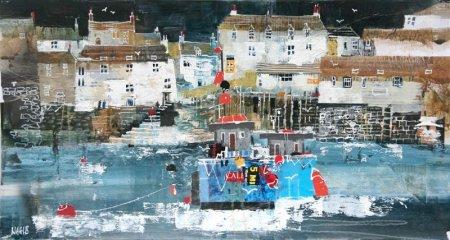Buy Fishermen's Cottages, Polperro - art print by artist Nagib Karsan