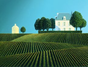 Chateau Latour and Dovecote a limited edition print by Michael Kidd