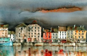New Ross Quays, Wexford a limited edition print by Val Byrne