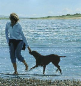 Girl and Dog in the Surf a limited edition print by Jim Farrant