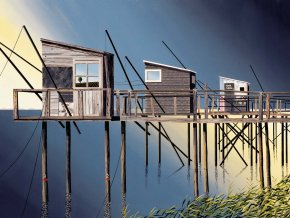 Three Fishing Stacks a limited edition print by Michael Kidd