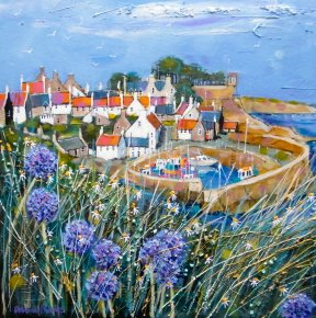 Clifftop Allium Crail a limited edition print by Deborah Phillips