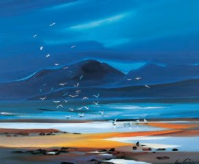 Flock of Gulls, Arran a limited edition print by Pam Carter