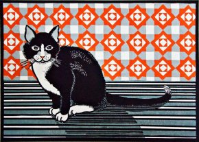 Cat and Screen - Orange a limited edition print by Linda Richardson