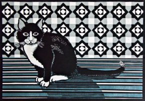 Cat and Screen - Grey a limited edition print by Linda Richardson