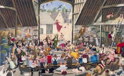 Harvest Supper - Limited edition print and art print by Richard Adams