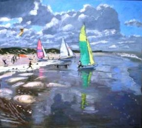 Sail Boats, Bray a limited edition print by Andrew Macara