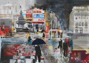 Showers, Piccadilly Circus a limited edition print by Nagib Karsan