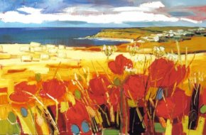 Harvest Poppies, Gardenstown a limited edition print by Judith Bridgland
