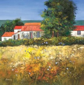 Hay Field in the Dordogne a limited edition print by Davy Brown