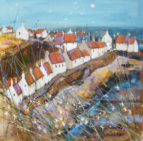 Sunny West Shore Pittenweem a limited edition print by Deborah Phillips