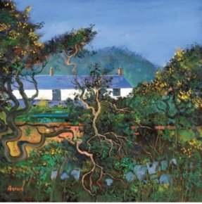 Cottages with Gorse Bushes a limited edition print by Davy Brown