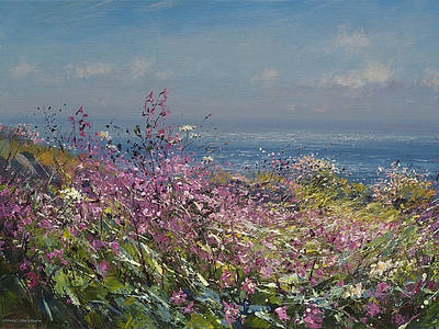 Buy Clifftop Flowers, Cornwall - art print by artist Mark Preston