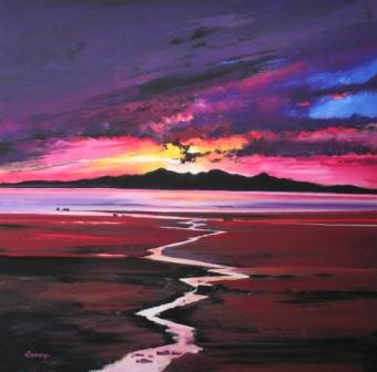 Buy Sunset over Arran - art print by artist Davy Brown