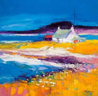 Buy Beached Boats Isle of Harris - art print by artist John Lowrie Morrison