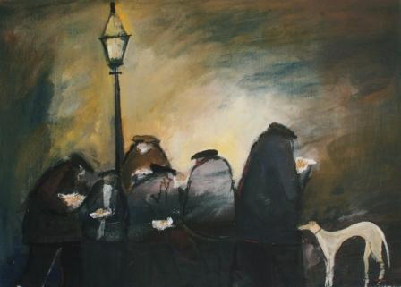 Buy Chips Under The Lamp - art print by artist Malcolm Teasdale