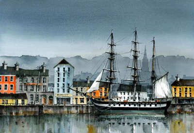 Buy Dunbrody Tall Ship, New Ross - art print by artist Val Byrne