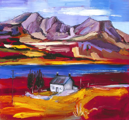 Buy Cottage at Loch Slapin, Skye - art print by artist Judith Bridgland