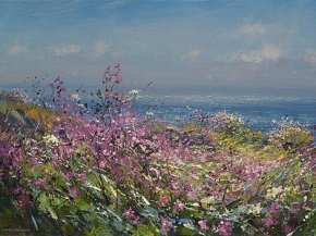 Clifftop Flowers, Cornwall a limited edition print by Mark Preston